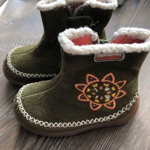 Toddler Naturino Green Suede Boots Sz 4 (20)